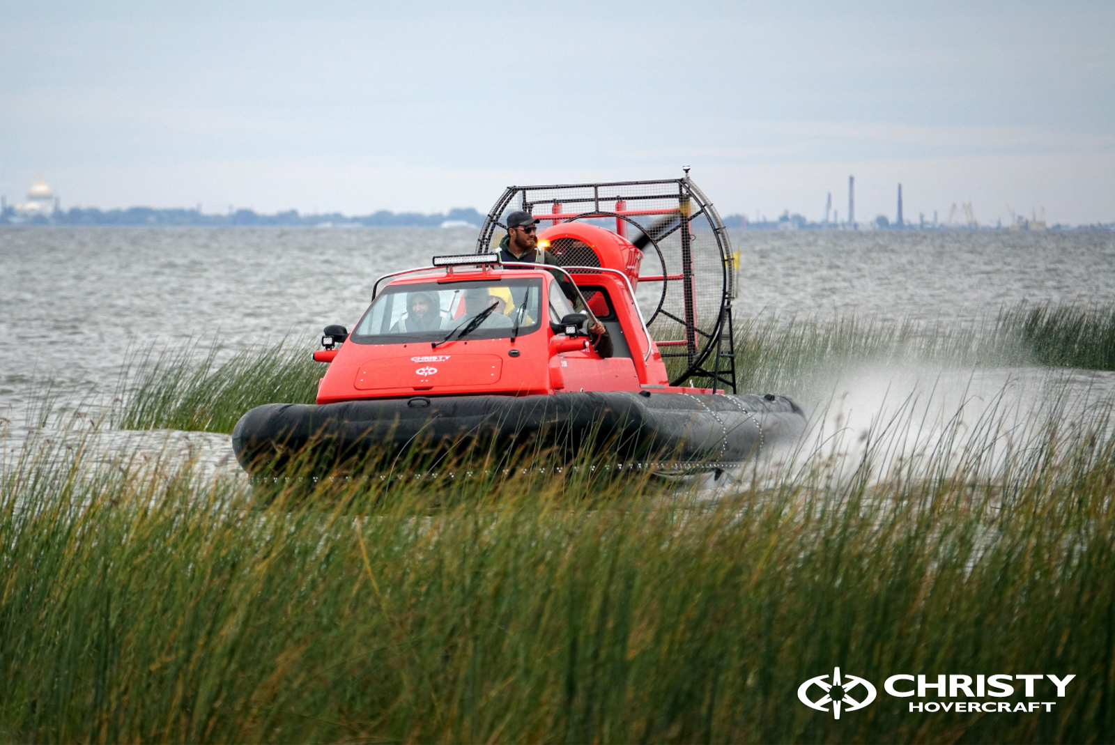 The Christy Hovercraft team has successfully tested the Christy 7186 OC hovercraft for one more US buyer