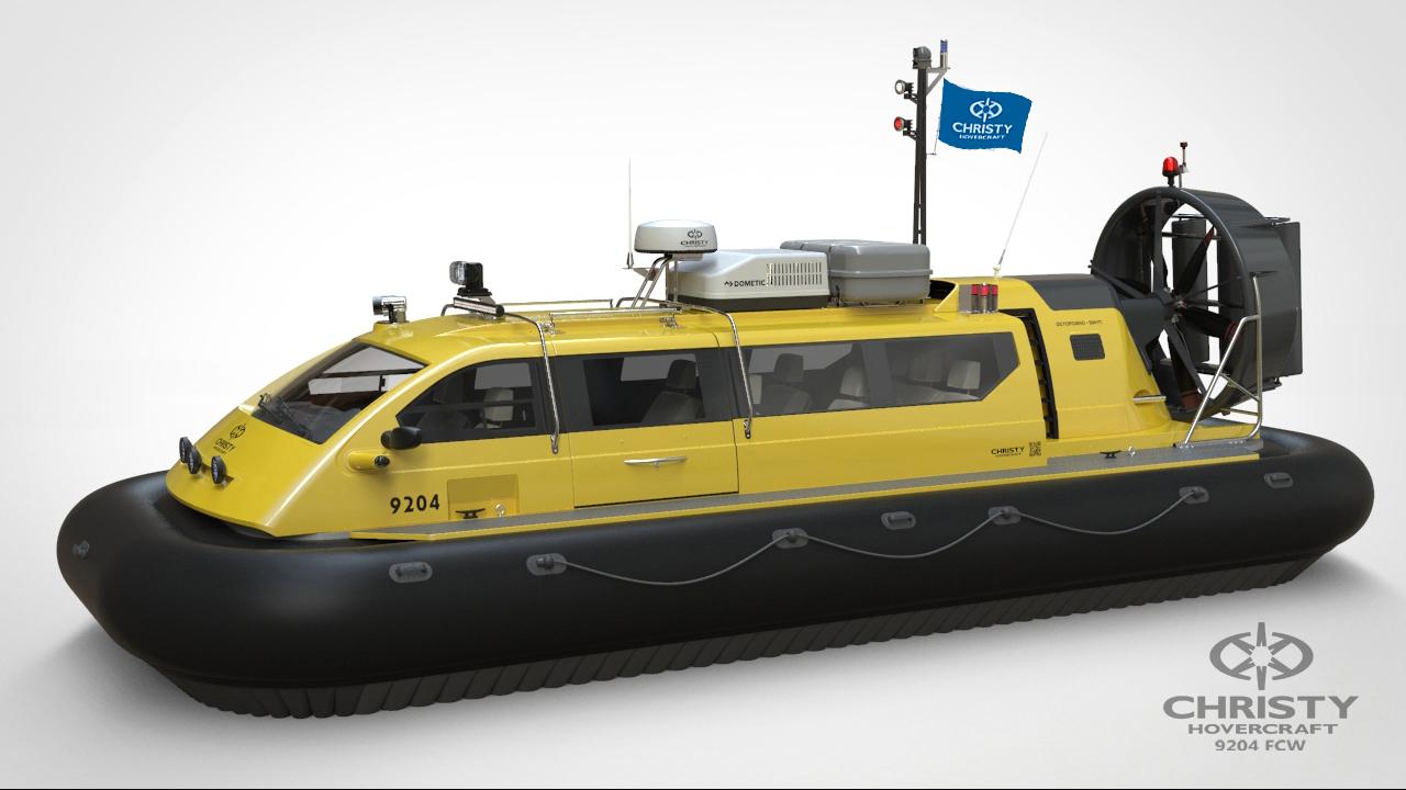 Модель судна амфибии на воздушной подушке Christy 9204 FCW. Жёлтый цвет. Вид сбоку | фото №3