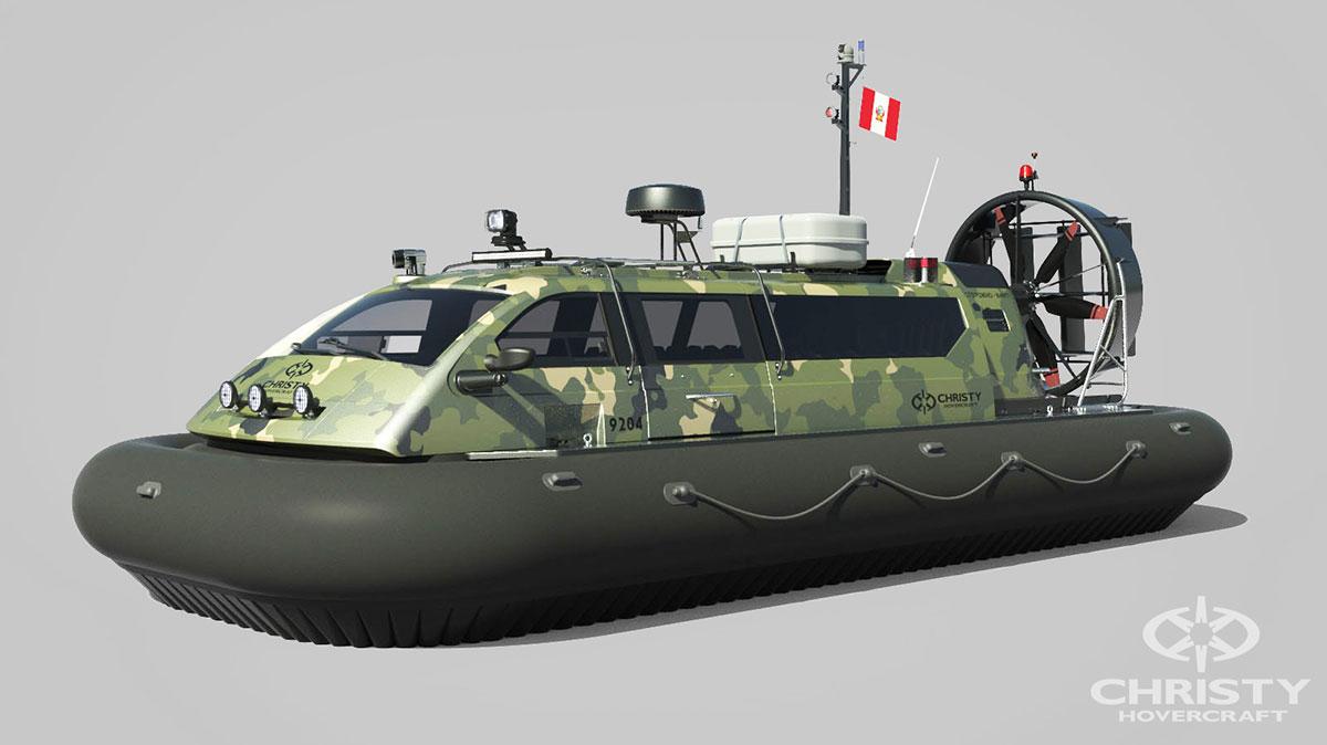 Модель судна амфибии на воздушной подушке Christy 9204 FCW. Военная расцветка | фото №1
