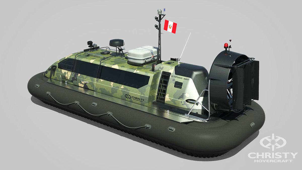 Модель судна амфибии на воздушной подушке Christy 9204 FCW. Военная расцветка | фото №2