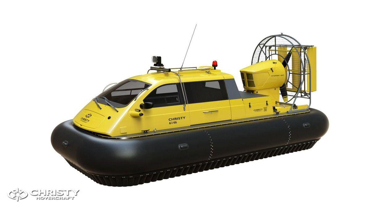 Катер-амфибия на воздушной подушке Christy 6146 FC DeLuxe. Модель судна сбоку и спереди | фото №11