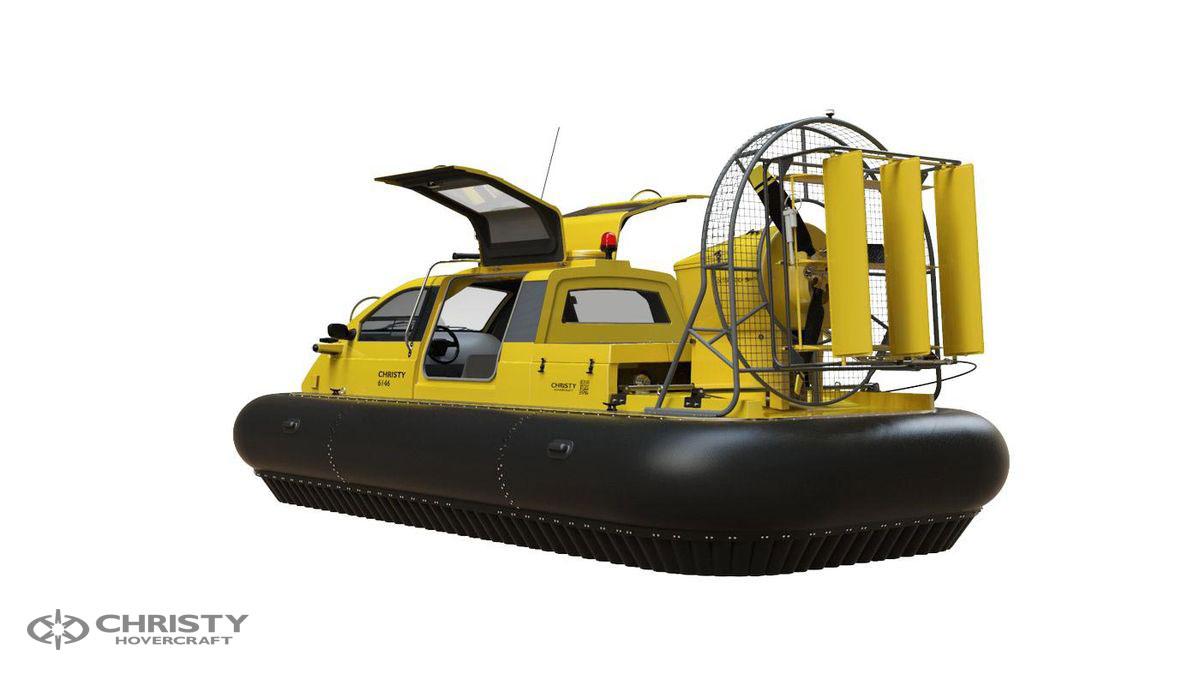 Катер-амфибия на воздушной подушке Christy 6146 FC DeLuxe. Модель судна сбоку и сзади | фото №12